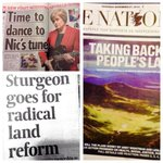 """Taking back the peoples land"" @NicolaSturgeons #ProgForGov covered positively across todays newspapers. http://t.co/mXs462NUD4"