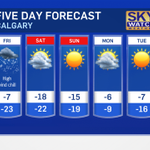 Sure, it says high -7.  Thats in the am.  Afternoon temp:  -19.  The @CTVCalgary 5 day forecast.  #yyc #Calgary http://t.co/OpdW7AH2dv