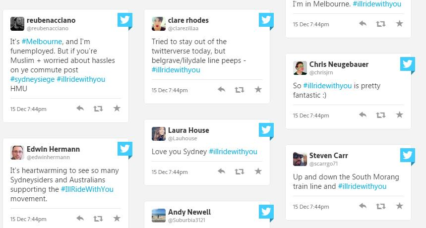 Australians unites against #racism with #illridewithyou following #sydneysiege http://t.co/XTEWFBu7k3 http://t.co/uafLUq7MvF