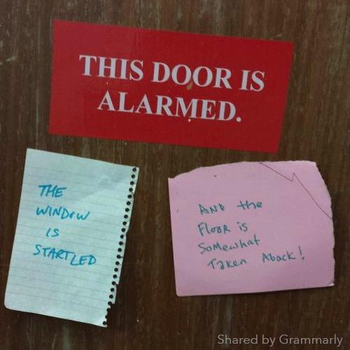 """This door is alarmed!"" #funny http://t.co/LL6DVKOhaE via @Grammarly"