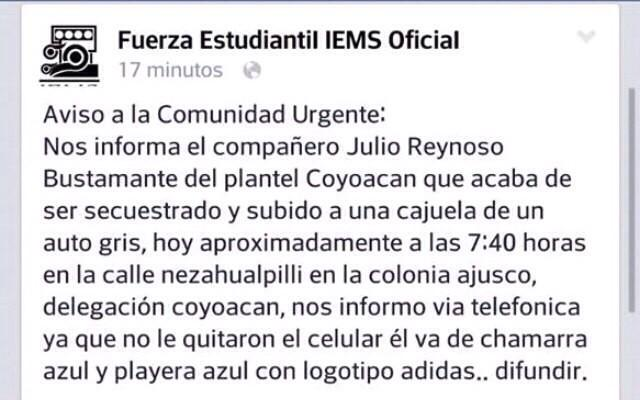 Julio Reynoso Bustamante secuestrado en Ajusco. #YaMeCanse2 http://t.co/Hb5JCCeehy