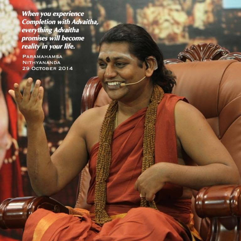 Wen u experience completion w/ Advaita everyting Advaita promises b/c reality in ur life - Paramahamsa #Nithyananda http://t.co/fAtho38eyM