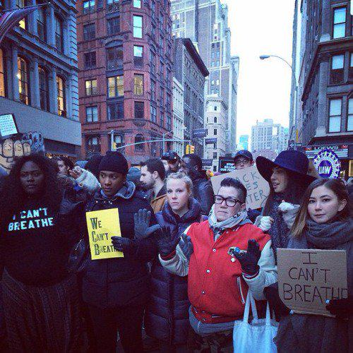 Cast of @OITNB at #MillionsMarchNYC. Photo via @COLLECTIONSBK http://t.co/uHNlUAomjY
