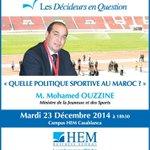 #Ouzzine sera à @HEM Casablanca mardi 23 Décembre à 18h30. Allez y ! http://t.co/sDSsXZxVqh