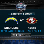 #Chargers vs. 49ers #TNF doubleheader airing on SATURDAY, Dec. 20 on NFL Network and CBS. #SDvsSF http://t.co/ANiL1zwqJ3