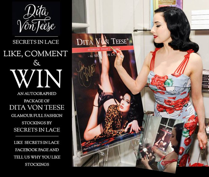 """Dita Von Teese @ditavonteese: Congrats!! """"@MissPorcelaina: I've just won a pair of @secretsinlace signed by @DitaVonTeese!! I'm so thrilled!!! http://t.co/TS8llHKhv9"""""""