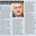 An open letter to the terrorists by @AnupamPkher. #PeshawarAttack #IShallRiseAndShine #PakWithIndiaNoToLakhviBail http://t.co/WsjzriiJ12