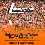 "#Kam17akmania RT""@league_world: Selamat Ulang Tahun ke-17 The Jakmania @JakOnline #Kam17akmania http://t.co/2IumZG4h8K"""