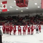 Jack Eichel stays out to thank the crowd with his BU teammates. http://t.co/edVC1ncY46