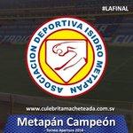 Felicitamos a Isidro Metapán, campeón del Apertura 2014. http://t.co/JEosfEpCJv