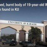 Stabbed, burnt body found in KU http://t.co/yGsOJZlgVP #Karachi #Pakistan http://t.co/9BjWb5lzNS