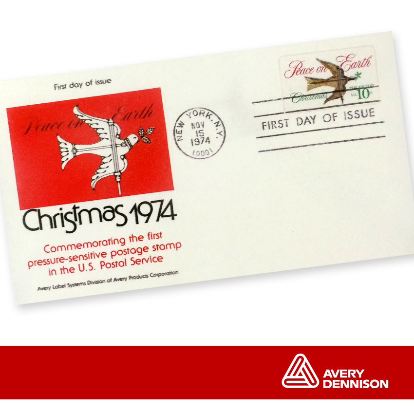 Did you know? The first self-adhesive U.S. postage stamp was made by #AVY in 1974 to speed the #Christmas mail. #TBT http://t.co/qJJTXC7Zns