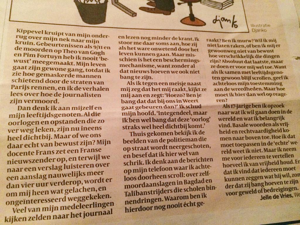 Mooie brief van een 17-jarige RT @bobbyblok: brief van @JktdeVries in #vk, over #CharlieHebdo: hoe moet ik reageren? http://t.co/0J2RxYu5he
