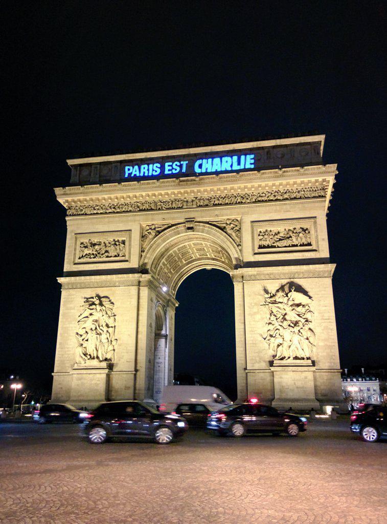 Projected onto the Arc de Triomphe #JeSuisCharlie http://t.co/QZgEX6xEoz