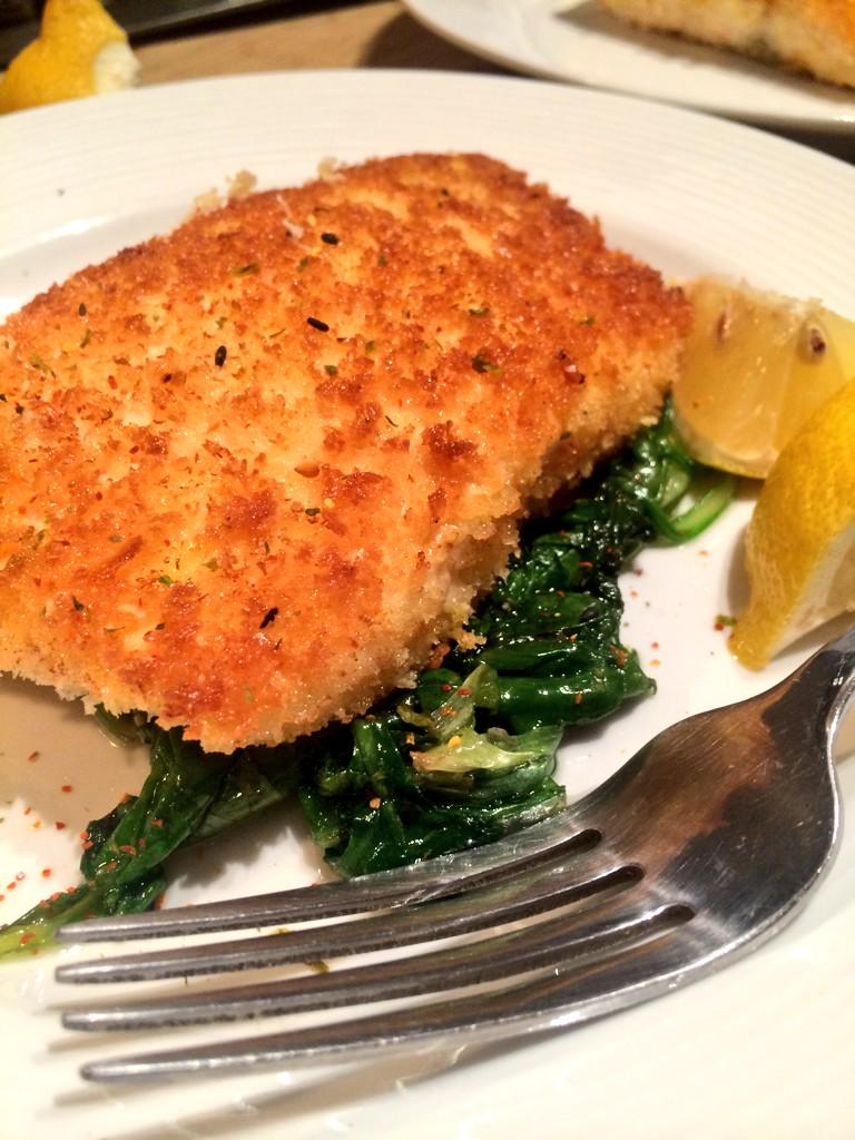 Panko-crusted salmon with sautéed baby kale. #CookingStreak Day 1 http://t.co/ZiD75jiwhn