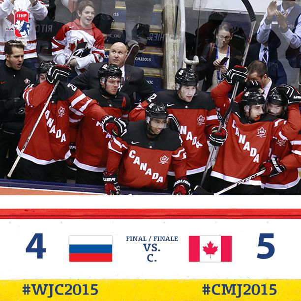 #WJC2015 FINAL | Canada defeats Russia 5-4, claiming their first gold medal since 2009. #CANvsRUS #GoldMedalGame http://t.co/2eH762y2kI