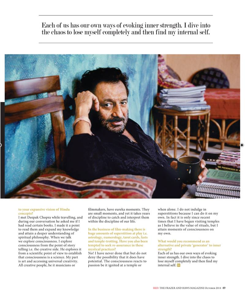 My Interview with filmmaker @shekharkapur on International Hinduism for Frazer and Haws' magazine, RED! http://t.co/nmYs2LFz5d
