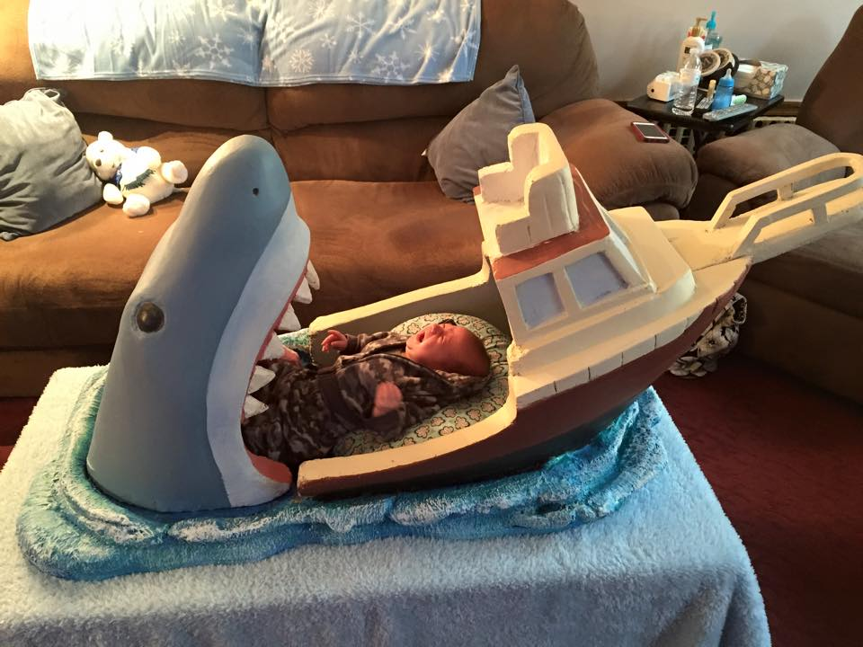"""A baby bed inspired by the film """"Jaws"""" http://t.co/9qrbhalAFs"""