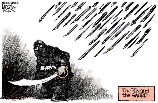 My award-winning cartoonist friends @MorinToon & #JeffDanziger respond. #JeSuisCharlie #CharlieHebdo #NotAfraid http://t.co/EbLJnmTjDn