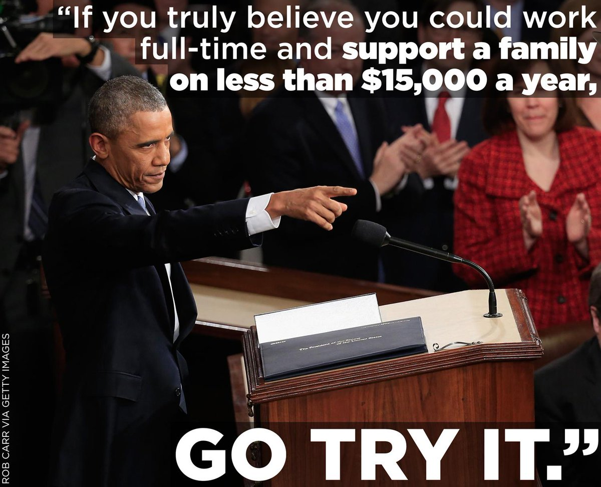 """미국 대통령은 """"1년에 1만5천불 이하 임금으로 가족들을 부양할 수 있다고 생각한다면 니가 한번 해봐라"""" 라며 최저임금 인상을 주장하는데 우리나라는...-__- RT @HuffingtonPost http://t.co/nIvm3pTtmR"""