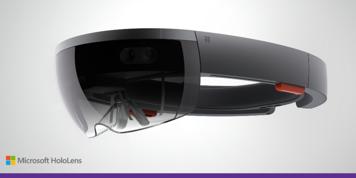 Image of Microsoft HoloLens. No, this is not a joke. This is real. Hologram AR with APIs you can program. http://t.co/vrZUxMuDAv