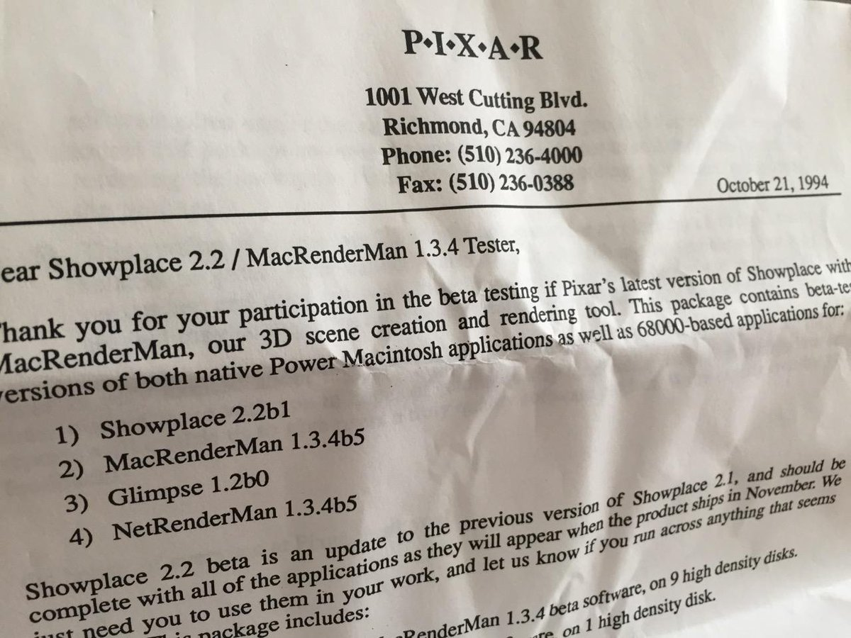 This is how we did beta back the day! #tbt - Old Pixar RenderMan docs and FLOPPIES that came in the mail. :) '94 http://t.co/6YG9ykiY2T