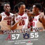 .@AlabamaMBB defeats Auburn in a thriller, 57-55! Share the W! #RollTide http://t.co/XkEGu5IcfO