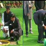 US President Barack Obama plants a sapling at Rajghat #TheObamaVisit http://t.co/m4eBtcRt0y