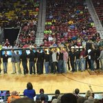 The 2015 NMSU baseball team on center court last night during the middle of a big Win for Mens Basketball http://t.co/6Zyoea6CBK