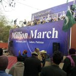 Amazing view of stage at #JIShaneMustafaMarch Lahore. #FranceMustApologize http://t.co/Nvj9yqsj0o