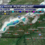 Snow accumulations through 12PM Tuesday. A dusting poss. in some lower elevations. Details: #LiveOnWLOS #wnwx #avlwx http://t.co/d1jNUkKZDF