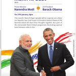 #MannKiBaat today with PM Shri @narendramodi and US President Mr. @BarackObama at 8pm. http://t.co/bEpr0lAn7w