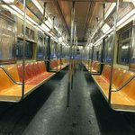 Another great @WillieGeist photo from last night-- empty NYC subway car. #blizzardof2015 http://t.co/g1BLUogh8v