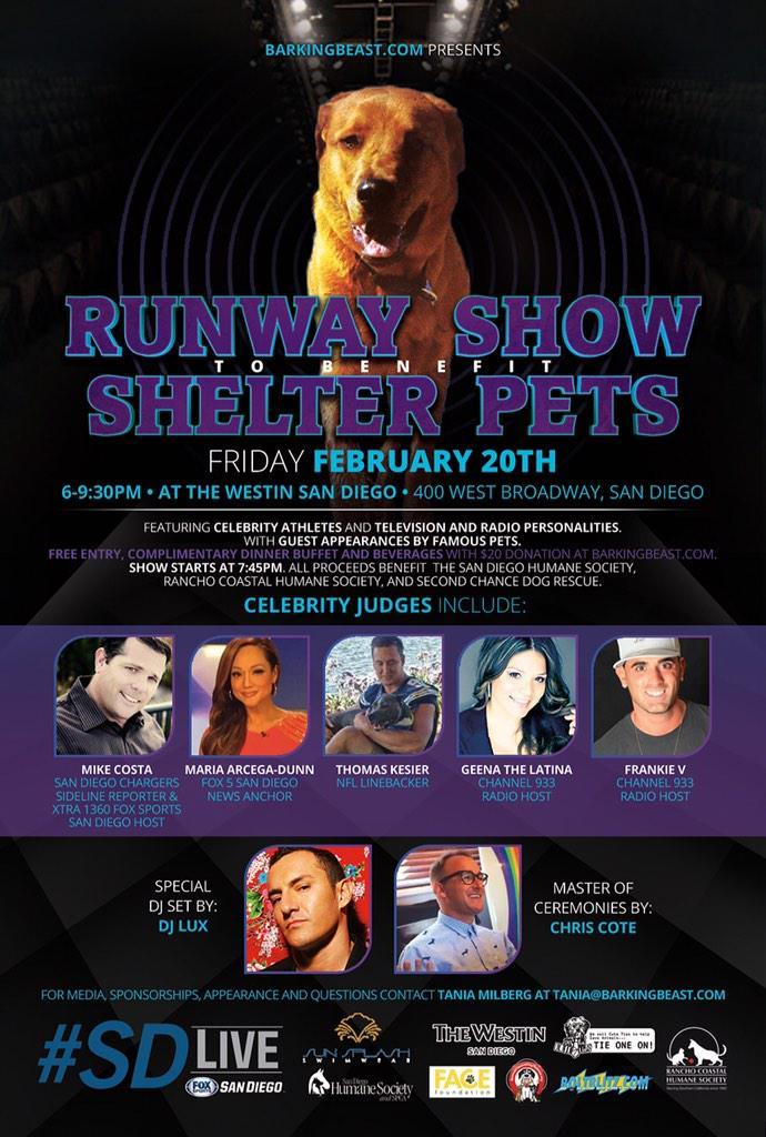 Runway Show 4 shelter pets: 2/20! @ThomasKeiser @FOX5Maria @DJLUX @chriscoteshow @taniamilberg http://t.co/13wYNFqmdB