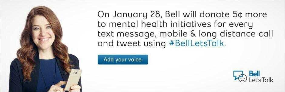 Use #BellLetsTalk in your tweets today and @Bell_LetsTalk will get 5c towards mental health support every time!! http://t.co/q5mmUWoHzb