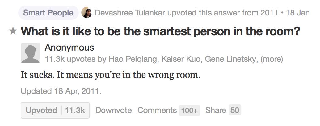 每次看到这个答案,都心头一凛,如果你想进步,千万记住,可以走错房间,但是不要在里面沾沾自喜,而是赶快出来,找一个的对的房间大胆进去 http://t.co/cunO6rhN4S http://t.co/FA8xcU2sAi