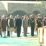 Three service chiefs,PM Modi,VP Hamid Ansari,Def Min M.Parrikar,Def MoS R.Inderjit Singh pay homage to Mahatma Gandhi http://t.co/WpVbBk0KQB