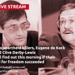 LIVE: Watch every moment as Eugene de Kock & Clive Derby-Lewis find out about their parole > http://t.co/GNlPshUyIa http://t.co/eedHuYYVPi