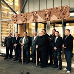 Carvers and Mana Whenua outside Devonports new $7.8 million Library @TeKarereTVNZ #Auckland #Tamaki http://t.co/f12dRhRiKQ
