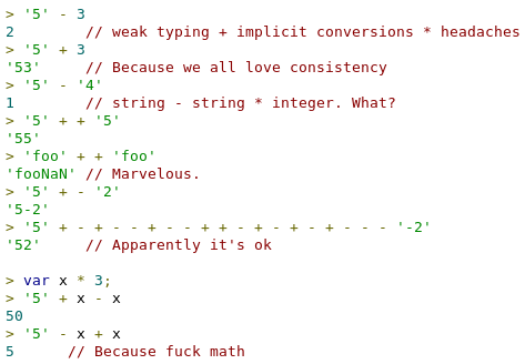 "I don't want 2 code with whoever writes that code anyways ""@barraganc: ""@Sh1bumi: The reason why javascript sucks.. http://t.co/ABX7J2gywl"""""