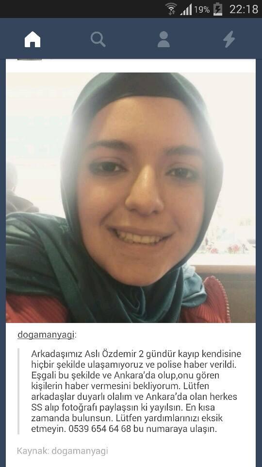 Bir genç kadın daha kaybolmuş. Özellikle Ankara'da olanların dikkatine. Umarım kötü bir haber daha almayız. http://t.co/Ize8W9AxhV