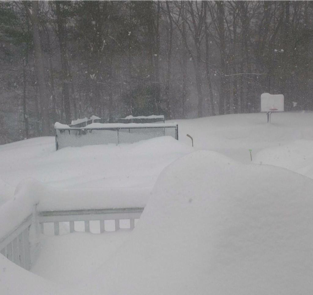 My friend in Boston sent me this picture of his backyard. That's a 10 foot basketball hoop in the background. http://t.co/xtKVPjUACA