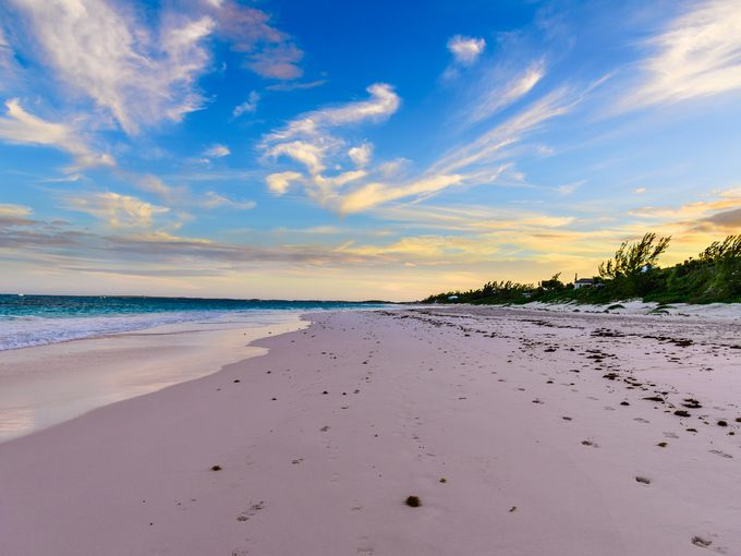 Harbour Island, Bahamas.  The world's most beautiful colorful-sand beaches: