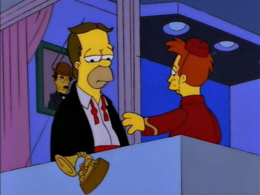 """""""Wow! An award statue! Aww, it's a Grammy."""" """"Hey! Don't throw your garbage down here!"""" http://t.co/tI8tUVks4l (@simpsons_tweets)"""