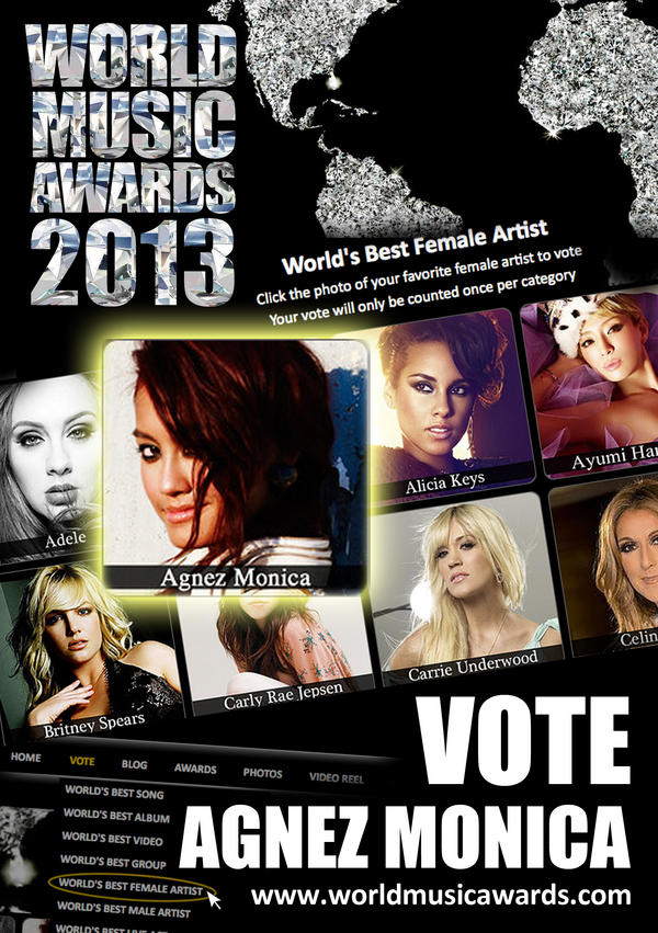 #AgnezMoBday (@NICofficial): VOTE! VOTE! VOTE! @agnezmo as Best Female Artist #WorldMusicAwards → http://t.co/4mviTd6A • http://t.co/LHSqWydY