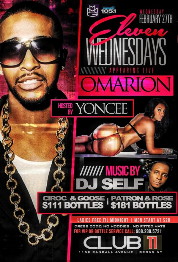 Epic Wednesday @Club11NY with a MMG invasion of @1omarion & @torchmmg with Smooth mag cover girl @yoncee & @djself http://t.co/5hzs07di6G