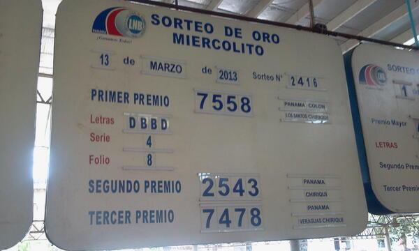 Lobo Molina (@asondesalsa): Sorteo de la loteria para hoy miercoles 13 marzo @NexPanama @LASALSA106 http://t.co/XzY4JSEyaM