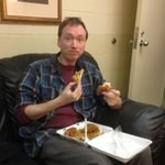 @michaelianblack no, but here's a pic of @tomshillue eating fried chicken and waffles. http://t.co/rXlm0HA1jx