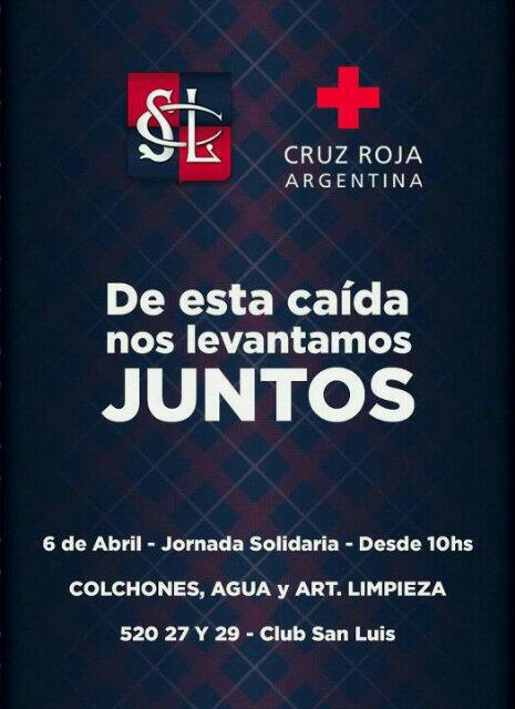 #INUNDACION: Si estás en La Plata, desde las 10 comienza una jornada solidaria en el @ClubSanLuis_LP 520, e/27 y 29 http://t.co/qZMZz2EJye