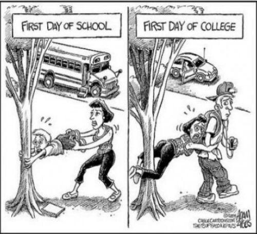Time passages. The difference between first day of going to school and first day of going to college. Cartoon. http://t.co/X4PTvJivla